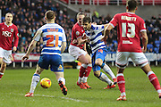 Reading forward Orlando Sa, Reading midfielder Stephen Quinn and Bristol City midfielder Elliot Bennett during the Sky Bet Championship match between Reading and Bristol City at the Madejski Stadium, Reading, England on 2 January 2016. Photo by Jemma Phillips.