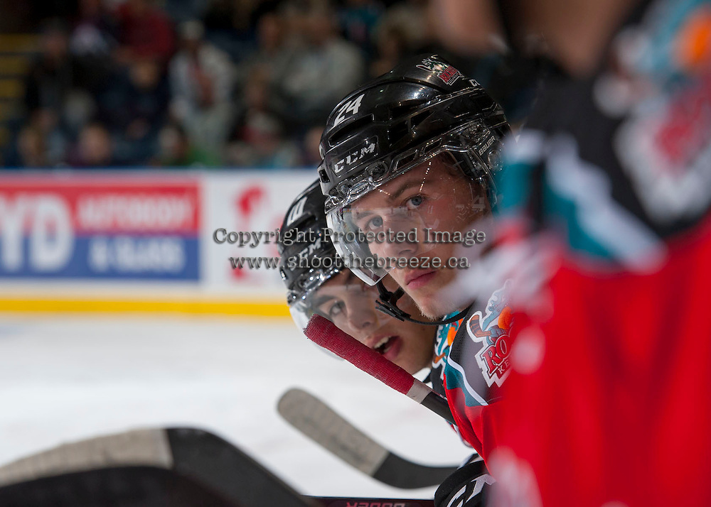KELOWNA, CANADA - OCTOBER 5:  Tyson Baillie #24 of the Kelowna Rockets stands on the bench opposite the Portland Winterhawks  at the Kelowna Rockets on October 5, 2013 at Prospera Place in Kelowna, British Columbia, Canada (Photo by Marissa Baecker/Shoot the Breeze) *** Local Caption ***