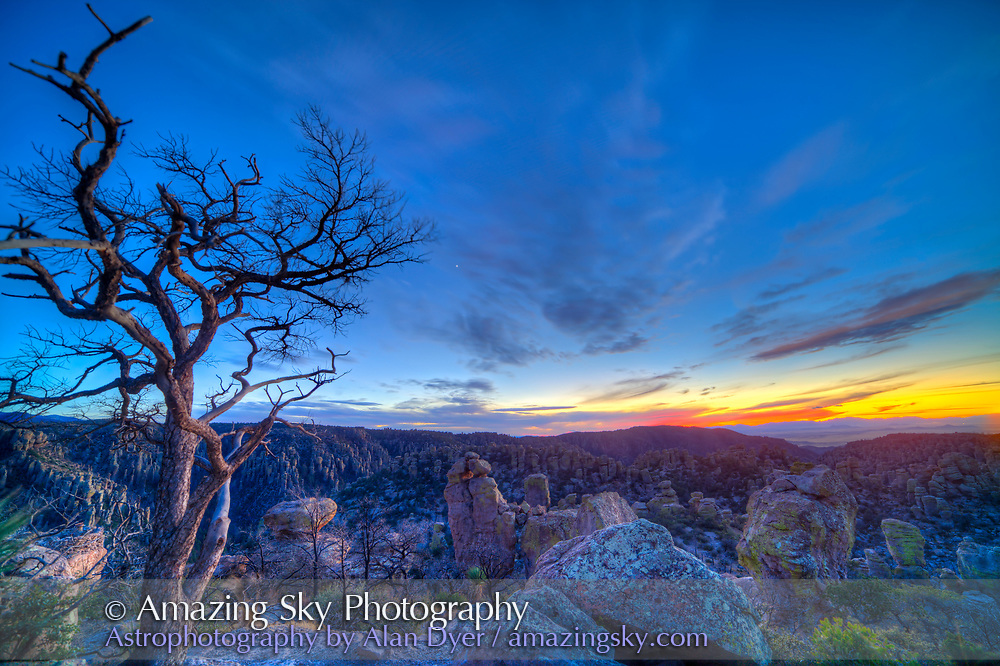 Evening twilight with Venus in the sky, on December 3, 2013 from Massai Point, Chiricahua National Monument, Arizona. This is a 8-frame HDR High Dynamic Range stack to compress the high contrast from the bright sky and dark foreground into one image. Combined with Photomatix Pro. Taken with the Canon 5D MkIi and Rokinon 14mm manual lens at f/8. Some wind has blurred trees. From images _MG_7042 to 7049, taken at 2/3rd stop increments.