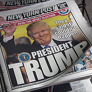 New York Post headlines day after Election Day, Donald Trump has been elected president of the United States.&quot;They said it couldn't happen President Trump&quot;<br /> <br /> Surprised outcome, had shown a fairly competitive race with critical weaknesses for Clinton in the Electoral College. Clinton will eventually win the popular vote as more votes come in from California.