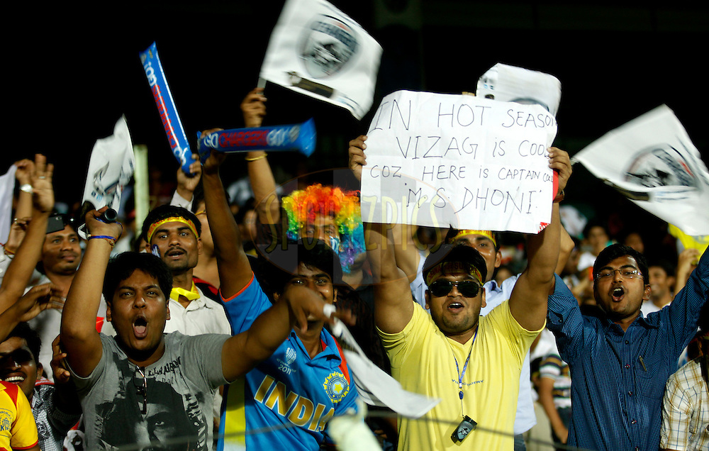 Crowd during match 6 of the Indian Premier League ( IPL) 2012  between The Deccan Chargers and the Chennai Superkings held at the ACA-VDCA Stadium, Visakhapatnam the 7th April 2012..Photo by Sandeep Shetty/IPL/SPORTZPICS