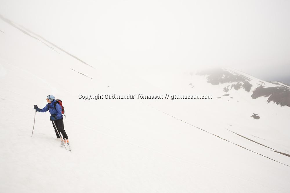 Kristín Irene Valdemarsdóttir skiing mt.1124m. in Flateyjardalur, Iceland.