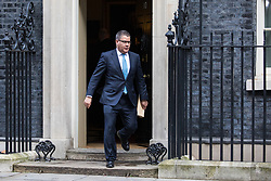 London, UK. 28 January, 2020. Alok Sharma, Secretary of State for International Development, leaves 10 Downing Street for a National Security Council meeting convened to finalise the role of Chinese multinational technology company Huawei in the construction of the UK's 5G digital network.