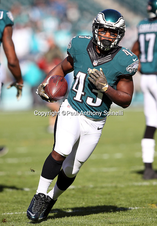 Philadelphia Eagles running back Darren Sproles (43) runs with the ball while warming up before the 2015 week 10 regular season NFL football game against the Miami Dolphins on Sunday, Nov. 15, 2015 in Philadelphia. The Dolphins won the game 20-19. (©Paul Anthony Spinelli)