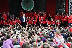 Bristol City manager, Steve Cotterill addresses the crowd at the Lloyds Amphitheatre during the celebration tour - Photo mandatory by-line: Dougie Allward/JMP - Mobile: 07966 386802 - 04/05/2015 - SPORT - Football - Bristol -  - Bristol City Celebration Tour