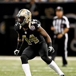 December 16, 2012; New Orleans, LA, USA; New Orleans Saints defensive back Elbert Mack (44) against the Tampa Bay Buccaneers during the fourth quarter of a game at the Mercedes-Benz Superdome. The Saints defeated the Buccaneers 41-0. Mandatory Credit: Derick E. Hingle-USA TODAY Sports
