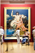 People visiting permanent collection of Granet Museum in Aix-en-Provence, France. Ingres painting in the background.