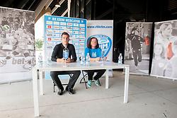 Jaka Kravanja and Marta Bon during practice session of RK Krim Mercator on August 6, 2014 in SRC Stozice, Ljubljana, Slovenia. Photo by Urban Urbanc / Sportida