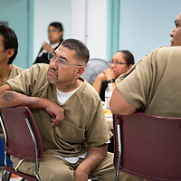 (Left to right) Russell Johnson, Steve Howe and Jalen Clarke listen to Judge Robert Baca speak at the substance abuse treatment program graduation luncheon, Wednesday Oct. 3, 2018 at the McKinley County Jail.