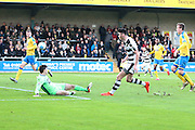 Forest Green Rovers Kieffer Moore(14) shoots at goal makes a save during the Vanarama National League match between Torquay United and Forest Green Rovers at Plainmoor, Torquay, England on 26 December 2016. Photo by Shane Healey.