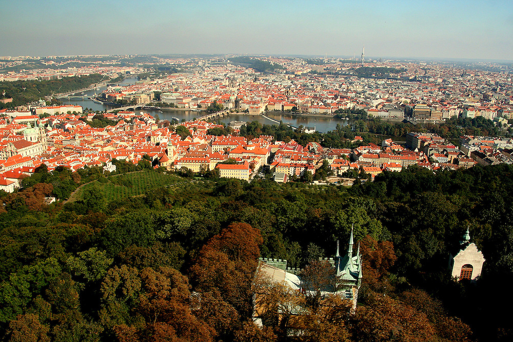View of Prague from  Petřín Tower, Prague, Czech Republic
