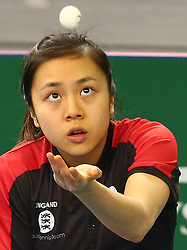 February 23, 2018 - London, England, United Kingdom - Tin-Tin HO of England .during 2018 International Table Tennis Federation World Cup match between Tin-Tin HO of England  against Mengyu YU of Singapore  at Copper Box Arena, London  England on 23 Feb 2018. (Credit Image: © Kieran Galvin/NurPhoto via ZUMA Press)