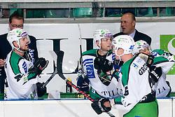 Bostjan Groznik (HDD Tilia Olimpija, #6) celebrates goal during ice-hockey match between HDD Tilia Olimpija and EHC Liwest Black Wings Linz in 19th Round of EBEL league, on November 7, 2010 at Hala Tivoli, Ljubljana, Slovenia. (Photo By Matic Klansek Velej / Sportida.com)