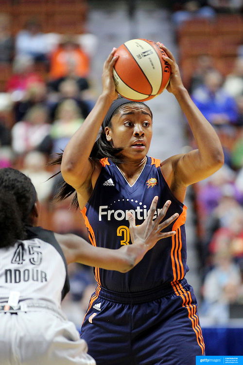 UNCASVILLE, CONNECTICUT- MAY 05:  Morgan Tuck #33 of the Connecticut Sun during the San Antonio Stars Vs Connecticut Sun preseason WNBA game at Mohegan Sun Arena on May 05, 2016 in Uncasville, Connecticut. (Photo by Tim Clayton/Corbis via Getty Images)