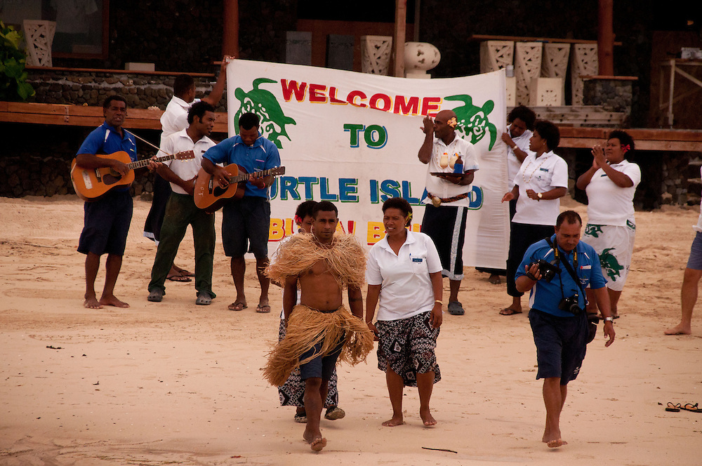 Greeting by Staff, Turtle Island, Yasawa Islands, Fiji