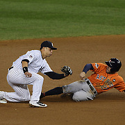 Jose Altuve, Houston Astros, steals second base as Rob Refsnyder takes the catchers throw during the New York Yankees Vs Houston Astros, Wildcard game at Yankee Stadium, The Bronx, New York. 6th October 2015 Photo Tim Clayton for The Players Tribune