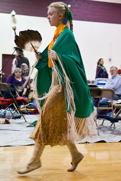 Lathan Goumas | MLive.com..March 11, 2012 - Elise Newcomer(15) of Farmington Hills dances during the 35th Annual Great Lakes Indian Cultural Association Pow Wow at Baker College in Flint Township on Sunday.
