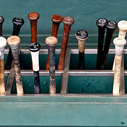 March 25, 2012; Clearwater, FL, USA; A detail of bats in the dugout for a  spring training game between the Philadelphia Phillies and the Baltimore Orioles at Bright House Networks Field. Mandatory Credit: Derick E. Hingle-US PRESSWIRE