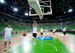 Primoz Brezec and Dino Muric at practice of Slovenia basketball team before opening of the new sports arena in Stozice on August 10, 2010, in Ljubljana, Slovenia.  (Photo by Vid Ponikvar / Sportida)