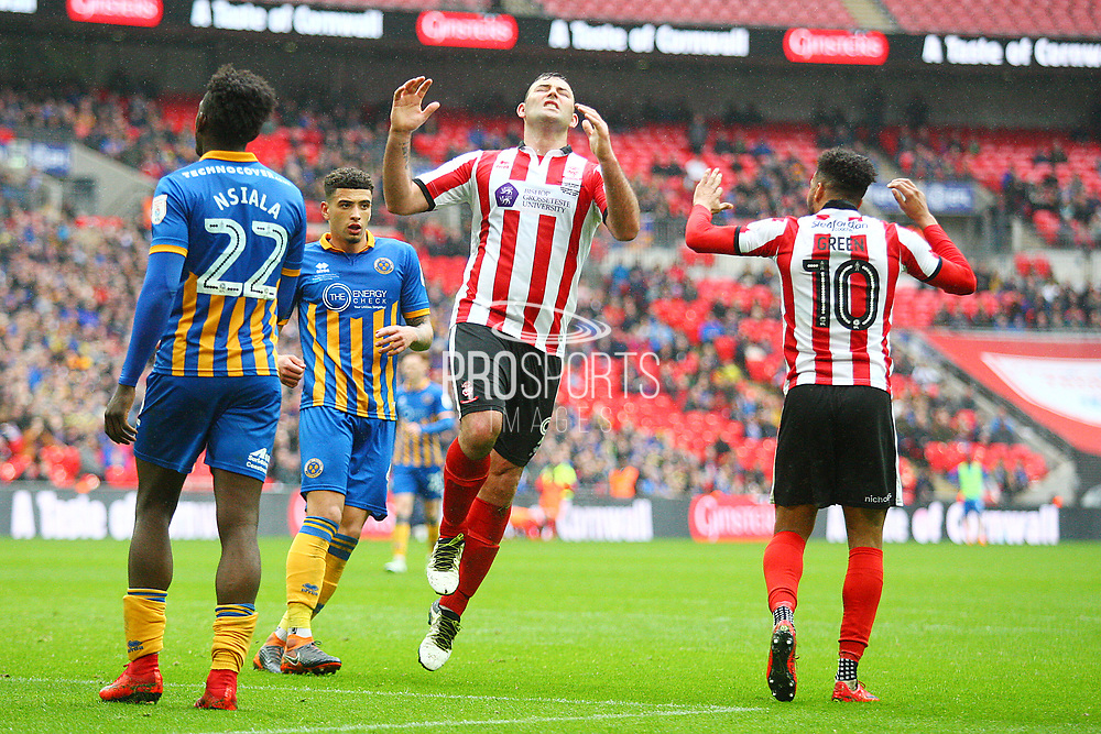 Lincoln City's Matt Rhead reacts during the EFL Trophy Final match between Lincoln City and Shrewsbury Town at Wembley Stadium, London, England on 8 April 2018. Picture by John Potts.