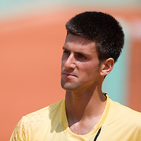 06 June 2007: Serbian player Novak Djokovic is seen during the French Tennis Open quarter final match won 6-3, 6-3, 6-3,  by  Novak Djokovic over Igor Andreev on day 10 at Roland Garros, in Paris, France.