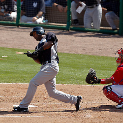 February 27, 2011; Clearwater, FL, USA; New York Yankees infielder Eduardo Nunez (67) breaks his bat on a swing during a spring training exhibition game against the Philadelphia Phillies at  Bright House Networks Field. Mandatory Credit: Derick E. Hingle