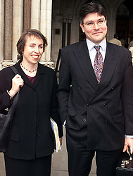 High Court, Spice Girls Case ...Gregor Kleinkneccht, Solicitor and Susan Barty(Partner) from Cameron Mckenna representing Aprilia talking to the press outside the high court after winning their case against the spice girls   February 24, 2000. Photo by Andrew Parsons / i-images..