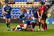 Bryson Goodwin of Warrington Wolves scores the try against Bradford Bulls during the Ladbrokes Challenge Cup match at the Halliwell Jones Stadium, Warrington<br /> Picture by Stephen Gaunt/Focus Images Ltd +447904 833202<br /> 21/04/2018