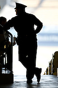 LOS ANGELES, CA - MAY 27:  Silhouette of a police officer as he watches during the Los Angeles Dodgers game against the Houston Astros on Sunday, May 27, 2012 at Dodger Stadium in Los Angeles, California. The Dodgers won the game 5-1. (Photo by Paul Spinelli/MLB Photos via Getty Images)