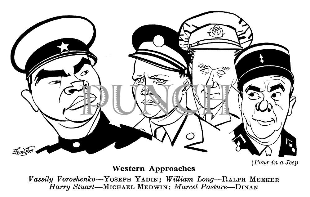 Four in a Jeep ; Yoseph Yadin , Ralph Meeker ,<br /> Michael Medwin and Dinan