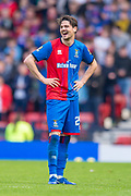 Charlie Trafford (#24) of Inverness Caledonian Thistle FC is all smiles during the William Hill Scottish Cup semi-final match between Heart of Midlothian and Inverness CT at Hampden Park, Glasgow, United Kingdom on 13 April 2019.