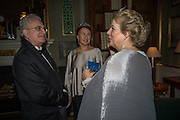 PROFESSOR MIKHAIL PIOTROVSKY; INNA BAZHENOVA; ANNA SOMERS COCKS, Professor Mikhail Piotrovsky Director of the State Hermitage Museum, St. Petersburg and <br /> Inna Bazhenova Founder of In Artibus and the new owner of the Art Newspaper worldwide<br /> host THE HERMITAGE FOUNDATION GALA BANQUET<br /> GALA DINNER <br /> Spencer House, St. James's Place, London<br /> 15 April 2015