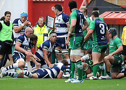 Bristol Rugby's Chris Brooker scores a try - Photo mandatory by-line: Dougie Allward/JMP - Mobile: 07966 386802 - 12/10/2014 - SPORT - Rugby - Bristol - Ashton Gate - Bristol Rugby v Connacht Eagles - B&I Cup