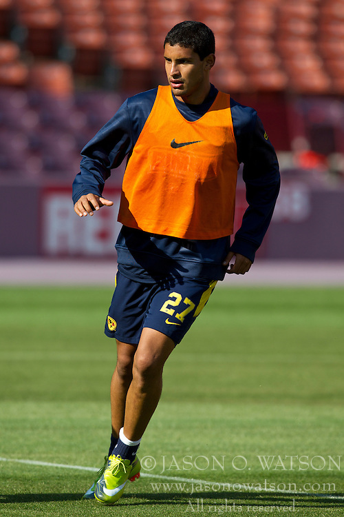 August 3, 2010; San Francisco, CA, USA;  Club America forward Antonio Lopez (27) practices at Candlestick Park a day before their match with Real Madrid.