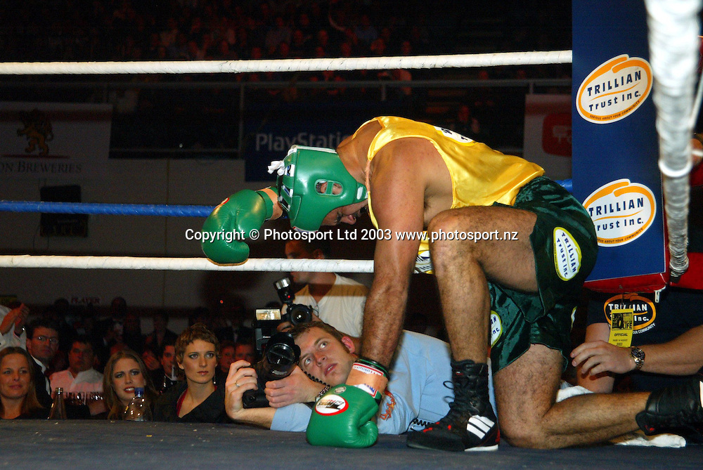 14 August 2003, Yellow Ribbon Fight for Life, North Shroe Events Centre, Auckland, New Zealand.<br />Michael Long takes a moment after Eric Rush knocked him to the ground. Rush won with a knock out.<br />Pic: Sandra Teddy/Photosport