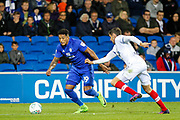 Nathaniel Mendez-Laing of Cardiff City takes on Brandon Haunstrup of Portsmouth during the EFL Cup match between Cardiff City and Portsmouth at the Cardiff City Stadium, Cardiff, Wales on 8 August 2017. Photo by Andrew Lewis.