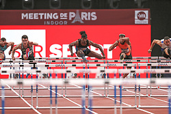 February 7, 2018 - Paris, Ile-de-France, France - From left to right : Atmane Hadj Lazib of Algeria, Dawid  Zebrowski of Poland, Jarret Eaton of USA, Ludovic Payen of France, Loic Desbonnes of France compete in 60m Hurdles during the Athletics Indoor Meeting of Paris 2018, at AccorHotels Arena (Bercy) in Paris, France on February 7, 2018. (Credit Image: © Michel Stoupak/NurPhoto via ZUMA Press)