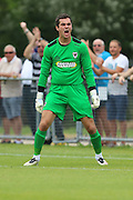 AFC Wimbledon goalkeeper James Shea (1) shows his anger as Margate go 1-0 up during the Pre-Season Friendly match between Margate and AFC Wimbledon at Hartsdown Park, Margate, United Kingdom on 16 July 2016. Photo by Stuart Butcher.