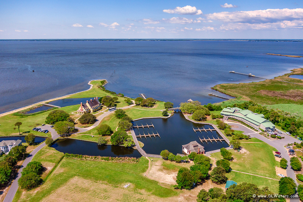 Aerial view of the Whale Head Club, and the Outer Banks Center for Wildlife Education in Corolla, NC.