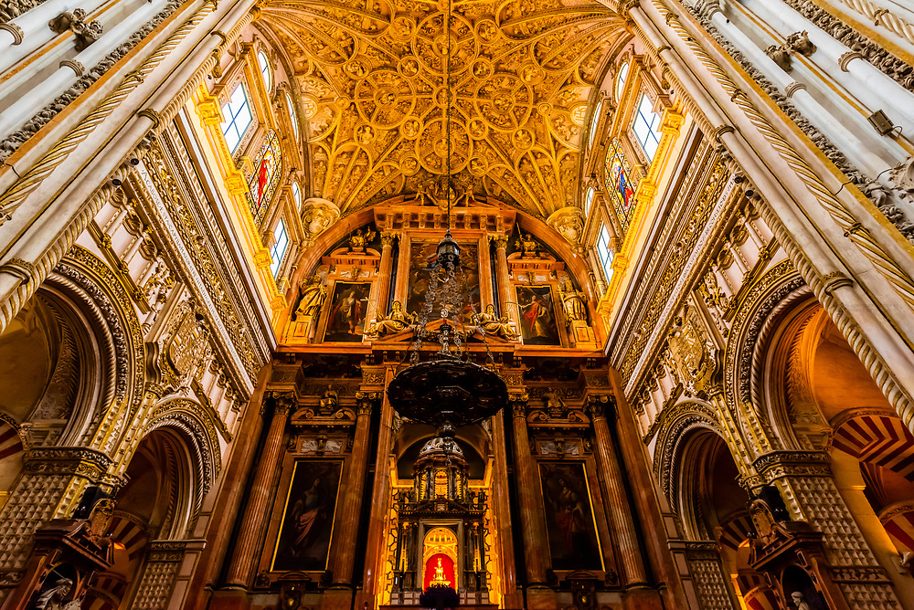 Inside the Mezquita (the Mosque-Cathedral) of Corboba, Cordoba Province,  Spain.