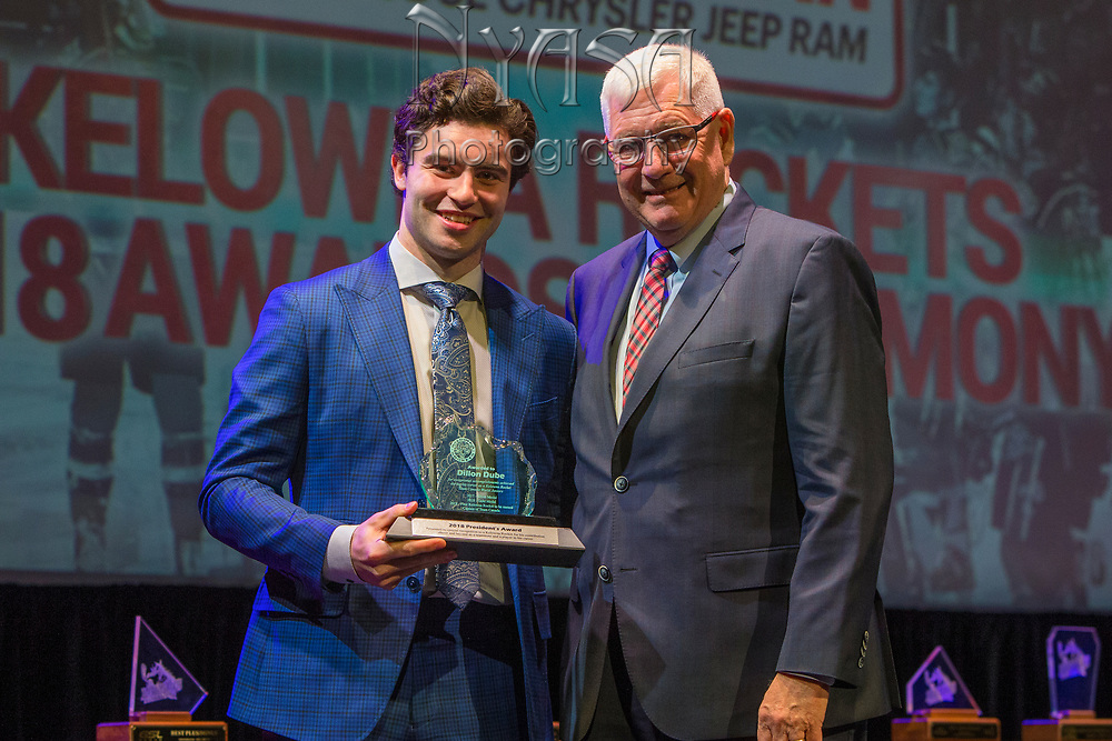 KELOWNA, CANADA - MARCH 18:  President's Award Sponsored by the Kelowna Rockets.  The award was presented by Bruce Hamilton to Dillon Dube at the Kelowna Rockets Awards Ceremony on March 18, 2018 at The Kelowna Community Theatre  in Kelowna, British Columbia, Canada.  (Photo By Cindy Rogers/Nyasa Photography,  *** Local Caption ***