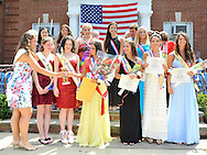 Miss Wantagh Pageant 2012 winner Hailey Orgass receives trophy from Eden Held Miss Wantagh 2009 at crowning ceremony, a long-time Independence Day tradition on Long Island, held Wednesday, July 4, 2012, in front of Wantagh School, New York, USA. Since 1956, the Miss Wantagh Pageant, which is not a beauty pageant, has crowned a high school student based mainly on academic excellence and community service. Kara Arena, Miss Wantagh 2011sang two patriotic songs. First runner up was Alyssa Kelly, 2nd runner up was Paulina Renda, and 3rd runner up was Alyson Hopkins. Since 1956, the Miss Wantagh Pageant, which is not a beauty pageant, has crowned a high school student based mainly on academic excellence and community service.