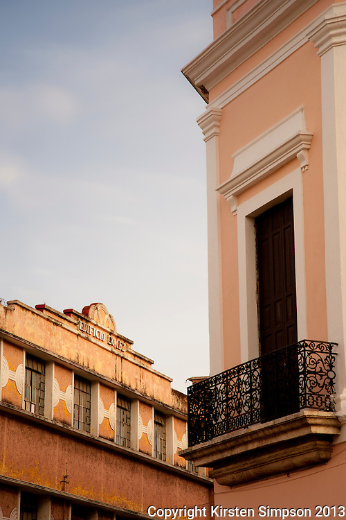 Beautiful buildings on Grande Plaza in Merida