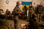 Julia Paevska is leading a first-aid course for soldiers at a military base in Myronivka, near the frontline in eastern Ukraine.