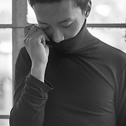 Asian Model in Black Turtleneck sweater