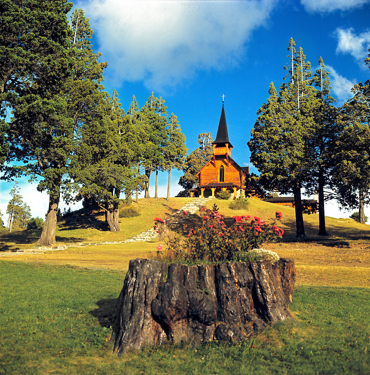A quaint wooden chapel is part of the Llao Llao complex in Nahuel Huapi National Park, Argentina.