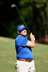 Florida head football coach Dan Mullen tees off during the Chick-fil-A Peach Bowl Challenge at the Ritz Carlton Reynolds, Lake Oconee, on Tuesday, April 30, 2019, in Greensboro, GA. (Paul Abell via Abell Images for Chick-fil-A Peach Bowl Challenge)
