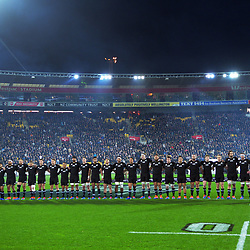 The All Blacks line up before the Rugby Championship rugby union match between the New Zealand All Blacks and South Africa Springboks at Westpac Stadium in Wellington, New Zealand on Saturday, 27 July 2019. Photo: Dave Lintott / lintottphoto.co.nz