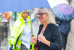 Managing Director Sarah Hopwood leaves the Croydon Tribunal Service after day two of an ongoing hearing as claimant chorister Neil Williams, 48, argues Glyndebourne Opera bosses sacked him because he was too old. London, August 14 2019.