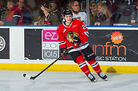 KELOWNA, BC - MARCH 02:  Mason Mannek #26 of the Portland Winterhawks warms up on the ice against the Kelowna Rockets  at Prospera Place on March 2, 2019 in Kelowna, Canada. (Photo by Marissa Baecker/Getty Images)